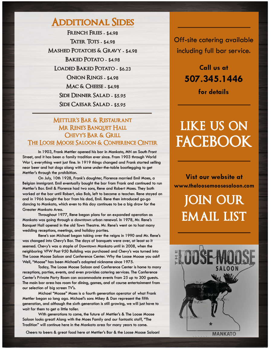 The Loose Moose Saloon Menu - Page 4